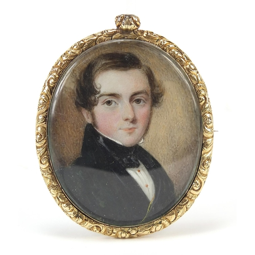 30 - Georgian oval hand painted portrait miniature of a young gentleman housed in a gold coloured metal p...