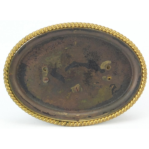 11 - 19th century gilt bronze ship's wheel design mantle clock with Scottish agate handles and Roman nume...