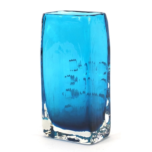 5 - Geoffrey Baxter for Whitefriars, telephone glass vase in kingfisher blue, 17cm high...
