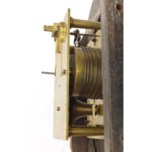 48 - Victorian mahogany fusée wall clock with convex glass, 36cm in diameter...
