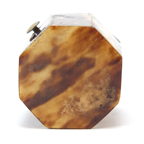 28 - Georgian blonde tortoiseshell and ivory hexagonal ring box with fitted interior, 3.5cm high...