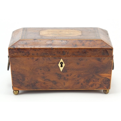 25 - 19th century inlaid bird's eye maple work box with fitted lift out interior and gilt ring turned han...