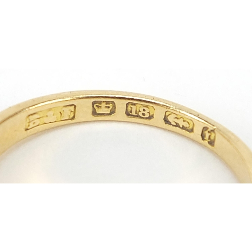 17 - Victorian 18ct gold diamond and black enamel three stone mourning ring, Birmingham 1883, housed in a...