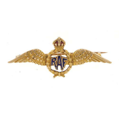 Military interest 9ct gold RAF brooch, 4cm in length, 2.7g