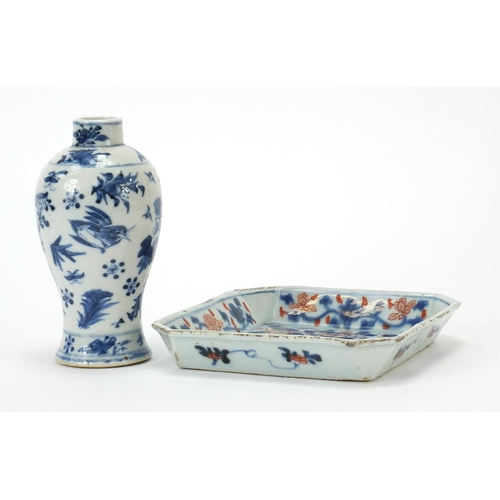 58 - Chinese blue and white porcelain baluster vase and a square dish hand painted in the Imari palette w...