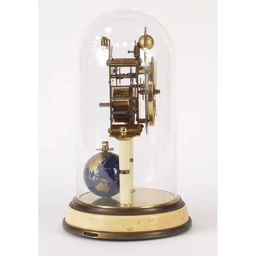 47 - Kaiser four hundred day globe clock with glass dome, 26.5cm high...