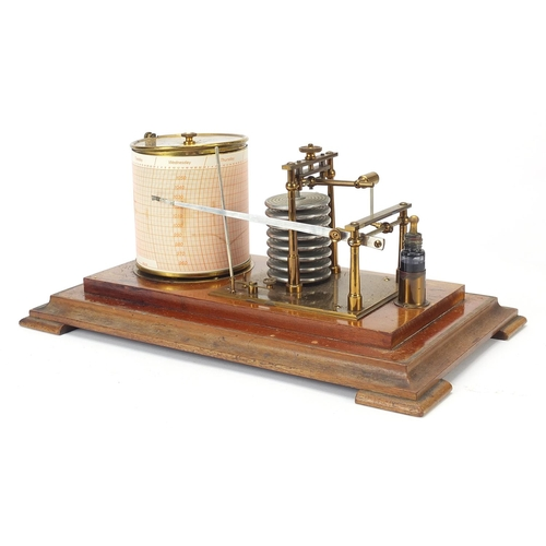 9 - Victorian eight ring barograph housed in a glazed mahogany case, 18cm H x 35.5cm W x 20.5cm D...