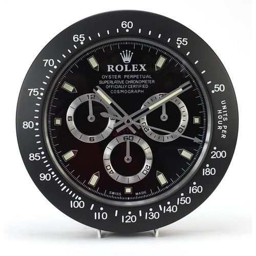 Rolex Daytona design dealer's display wall clock, 33.5cm in diameter