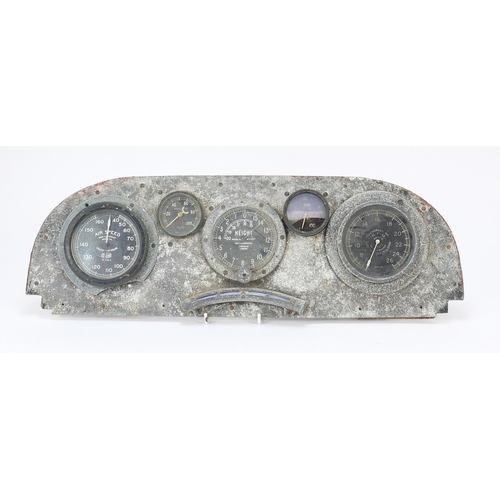 1451 - World War I military interest Aeroplane cockpit dashboard with T Wheeler, Hirst Bros height and R.P....
