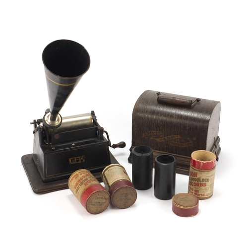 26 - Thomas Edison oak cased phonograph with horn and three reels, 25cm wide excluding the handle...