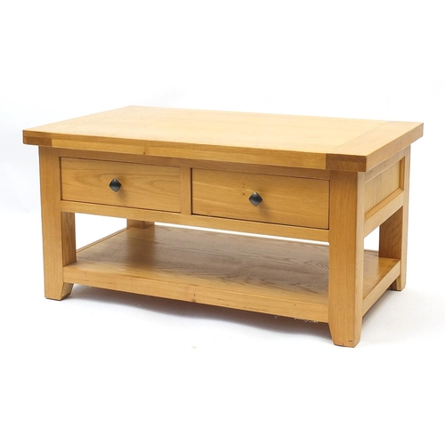 Contemporary light oak low table fitted with two frieze drawers and under shelf, 50cm high x 100cm W x 60cm D
