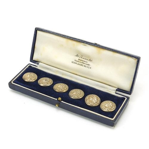 35 - Abel & Charnell, set of six Art Nouveau silver buttons, embossed with a maiden's head, housed in a J...