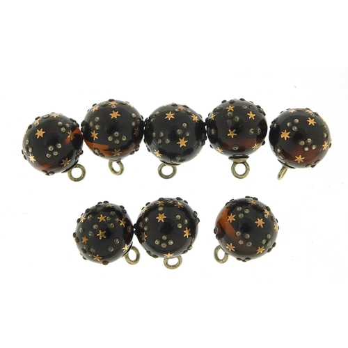 36 - Set of eight 19th century silver, gold and tortoiseshell piqué work buttons, 12.5mm in diameter, tot...