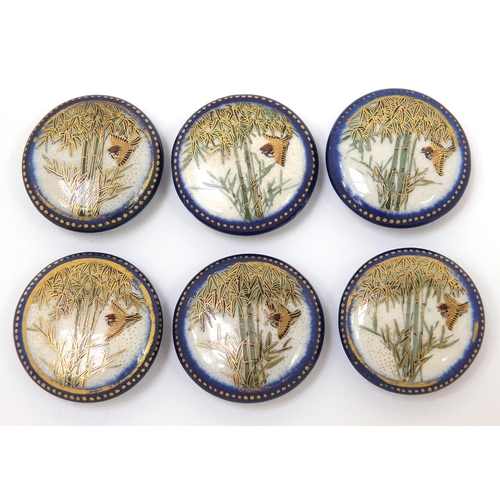 37 - Set of six Japanese Satsuma pottery buttons, each hand painted with a bird amongst bamboo grove, eac...