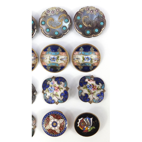 38 - 19th century and later buttons including abalone examples with turquoise coloured cabochons and some...