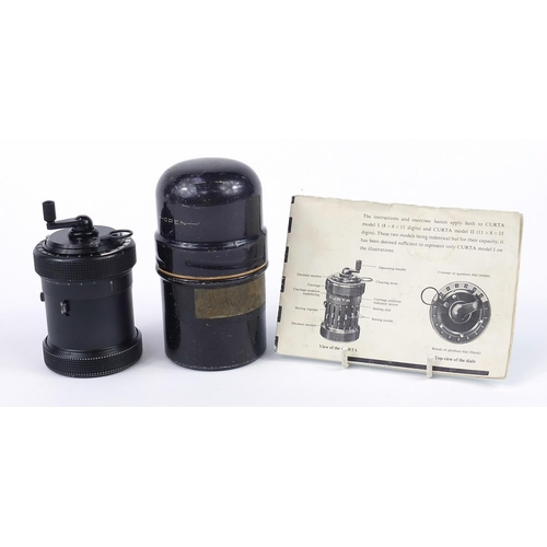 10 - Vintage Curta calculator with instructions, serial number 510375...