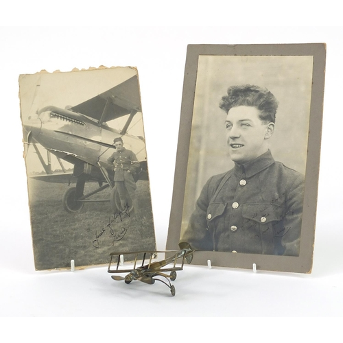 1452 - British military World War I trench art plane and two photographs including one of a soldier with a ...
