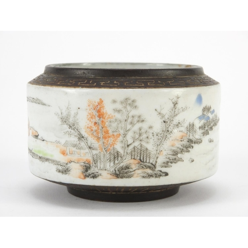 59 - ** WITHDRAWN ** Chinese porcelain brush pot hand painted with figures in a river landscape, with sea...