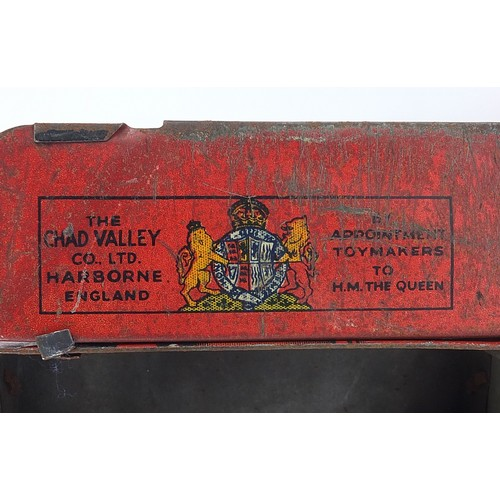 39 - Vintage Chad Valley Toys tinplate London Transport bus biscuit tin advertising Carr's biscuits, 25cm...