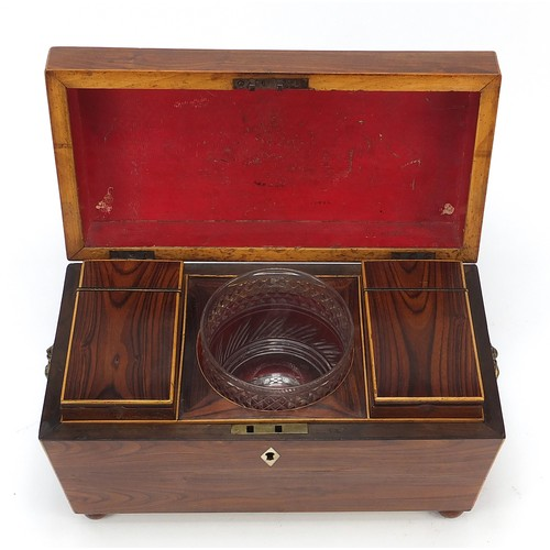 24 - Victorian rosewood sarcophagus shaped tea caddy with lion mask handles, lidded compartments and cut ...