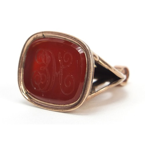 44 - Antique unmarked rose gold intaglio seal fob, tests and 9ct gold, 3cm high, 9.9g...