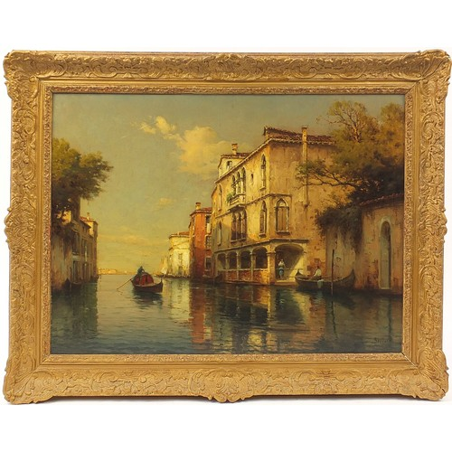 50 - ** WITHDRAWN ** Antoine Bouvard - Gondola on Venetian backwater, French oil on canvas inscribed King...