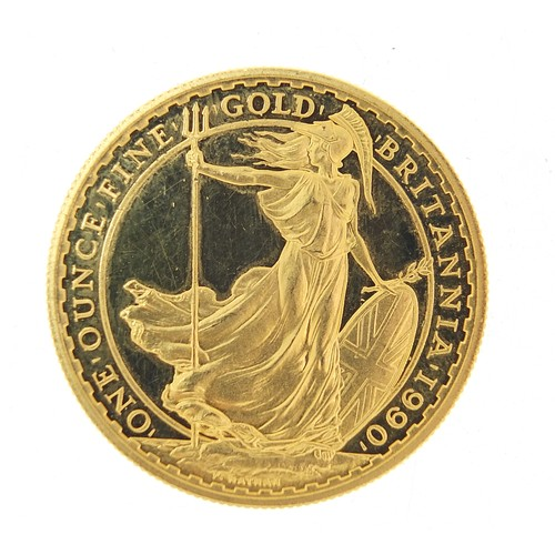 530 - Elizabeth II 1990 Britannia one ounce fine gold one hundred pound coin, 34.6g - this lot is sold wit...