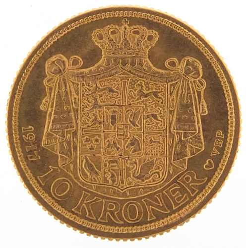 673 - Danish 1917 gold ten kroner, 4.5g - this lot is sold without buyer's premium, the hammer price is th...