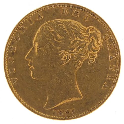 671 - Victoria Young Head 1847 shield back gold sovereign - this lot is sold without buyer's premium, the ...