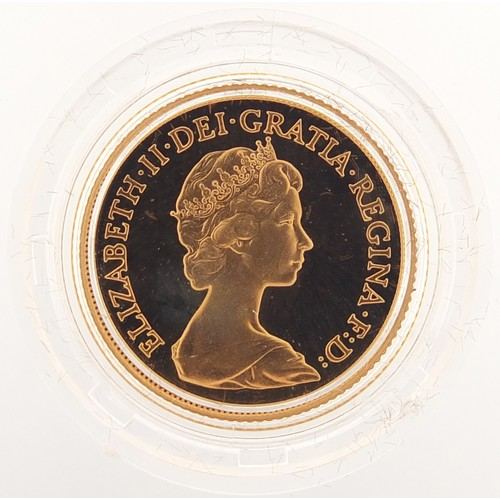 692 - Elizabeth II 1981 gold proof sovereign with fitted case and certificate - this lot is sold without b...