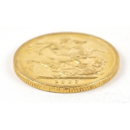 653 - Victoria Young Head 1887 gold sovereign, Melbourne mint - this lot is sold without buyer's premium, ...