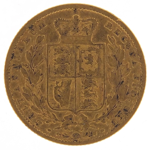 679 - Victoria Young Head 1855 shield back gold sovereign - this lot is sold without buyer's premium, the ...