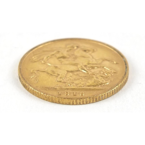 689 - Edward VII 1910 gold sovereign - this lot is sold without buyer's premium, the hammer price is the p...