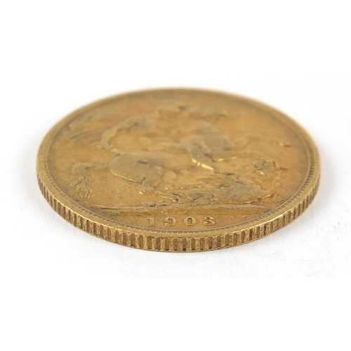 691 - Edward VII 1903 gold sovereign - this lot is sold without buyer's premium, the hammer price is the p...