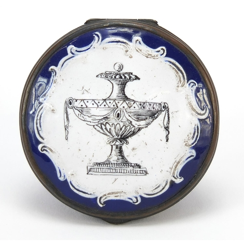 24 - 18th century Bilston enamel patch box hand painted with a classical urn, 4.5cm in diameter