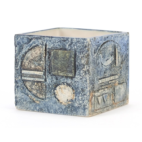 40 - Troika St Ives Pottery cube vase hand painted and incised with an abstract design, 8cm high x 9cm sq...