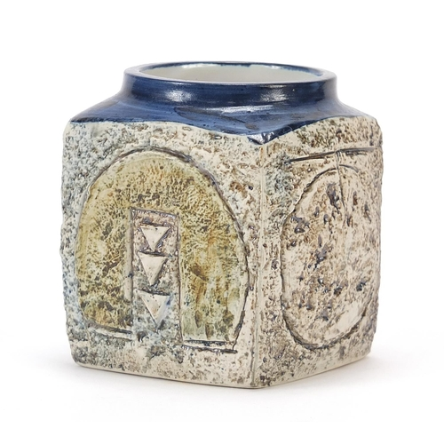 41 - Troika St Ives Pottery marmalade pot, hand painted and incised with an abstract design, 9cm high