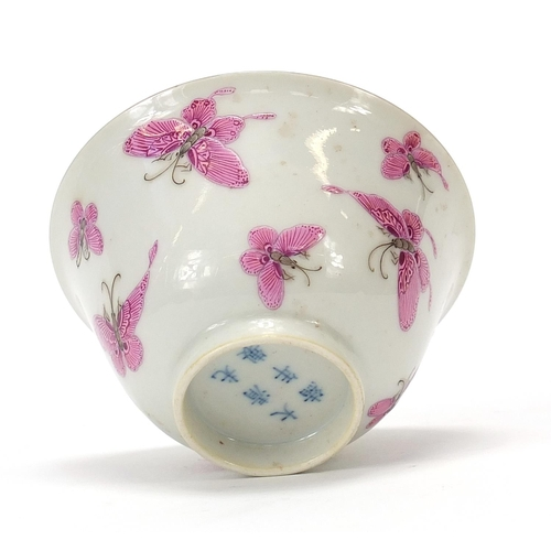 8 - Good Chinese porcelain bowl finely hand painted  in pink with butterflies, six figure character mark...