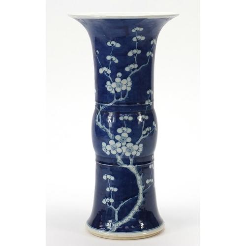 10 - Large Chinese blue and white porcelain Gu beaker vase hand painted with prunus flowers, six figure c...
