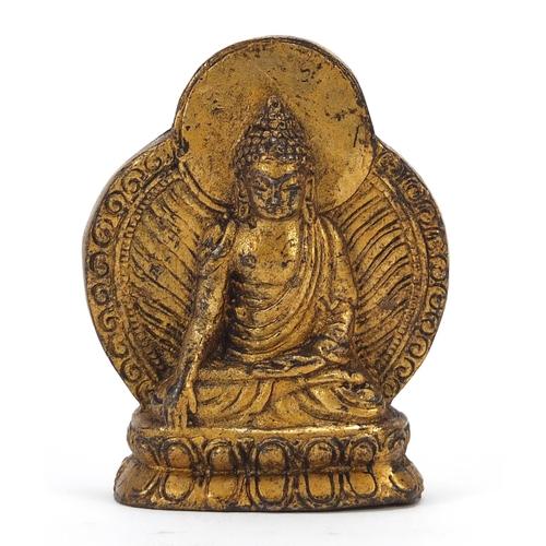 Chino Tibetan gilt bronze figure of Buddha, 6.5cm high