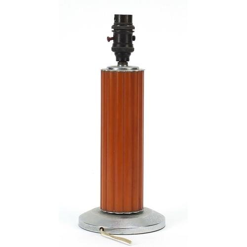 55 - Art Deco chrome and amber coloured Bakelite lamp, 31cm high