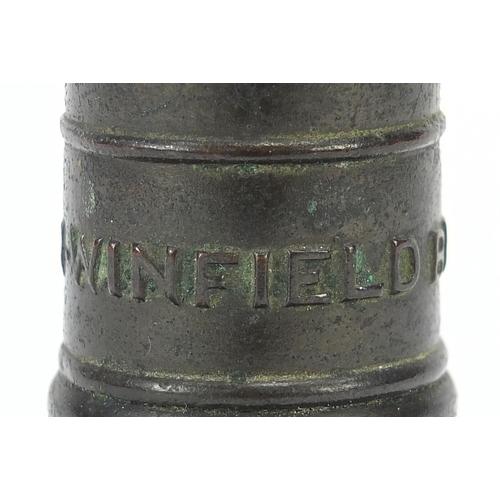 28 - Victorian brass pillar postal scale by W R Winfield of Birmingham, 16.5cm high