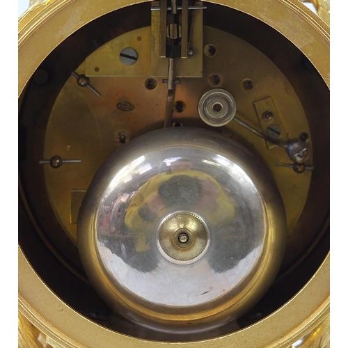1 - Jean Baptiste Delettrez, 19th century French Ormolu mantle clock with Sevres type porcelain panels p...