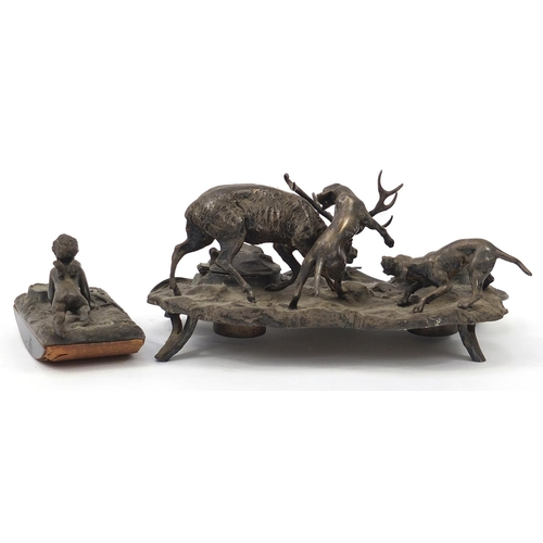 27 - 19th century  silver plated moose and dog design desk stand and silver plated Putti design ink blott...