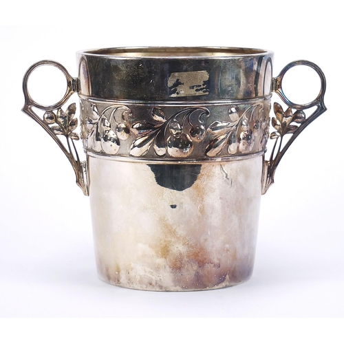 47 - WMF, large German Art Nouveau silver plated wine cooler with twin handles embossed with leaves and b...
