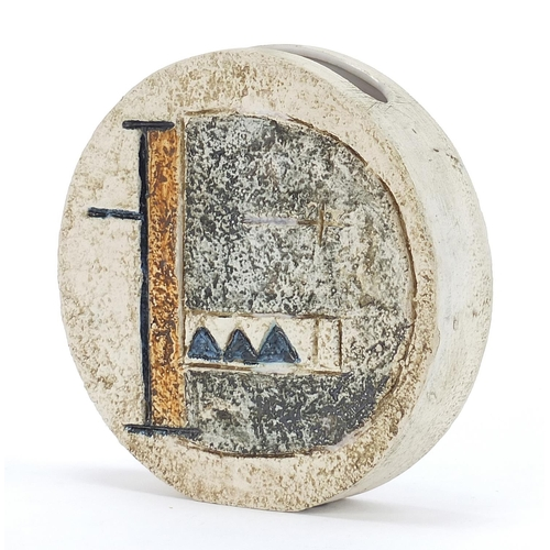 4 - Troika St Ives Pottery wheel vase hand painted and incised with an abstract design, 12cm high