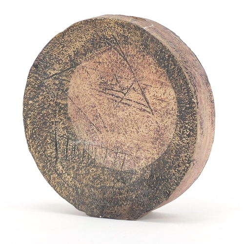 5 - Troika St Ives Pottery wheel vase hand painted and incised with an abstract design, 12cm high