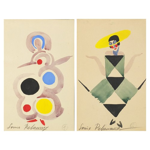 Sonia Delaunay 1923 - Abstract compositions, costume designs, pair of Russian theatrical watercolours numbered 6 and 7, stamps verso, mounted, unframed, each 18cm x 11cm