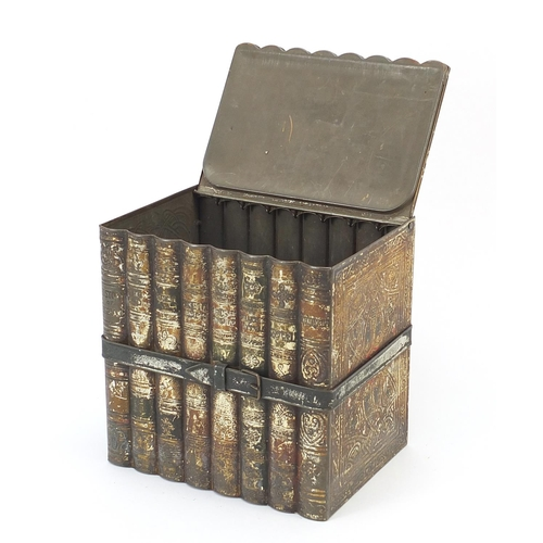 19 - Vintage Huntley & Palmers biscuit tin in the form of a stack of books, 16cm wide