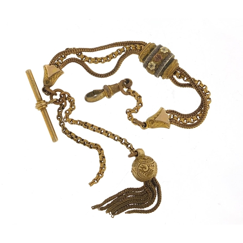 Victorian gold and silver coloured metal watch chain with T bar and tassel, 24cm in length, 13.5g